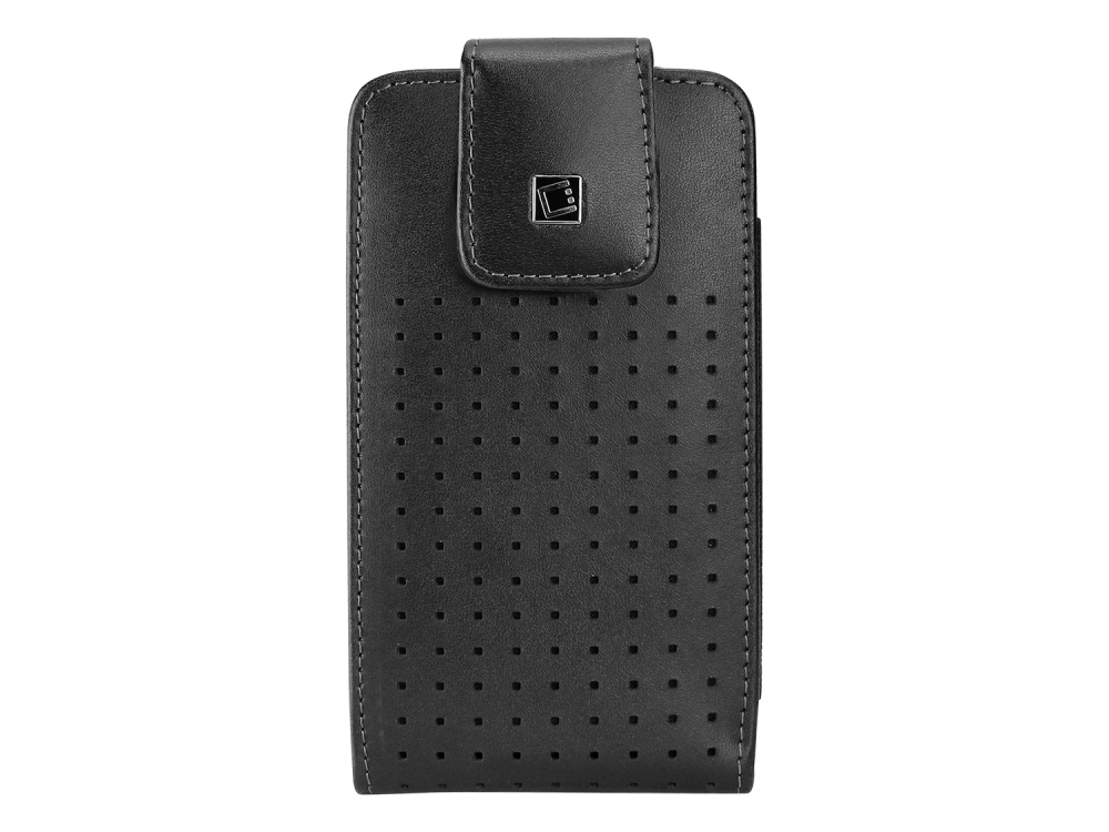 Vertical Leather Case Swivel Clip For ZTE Quartz Cellet Teramo Black