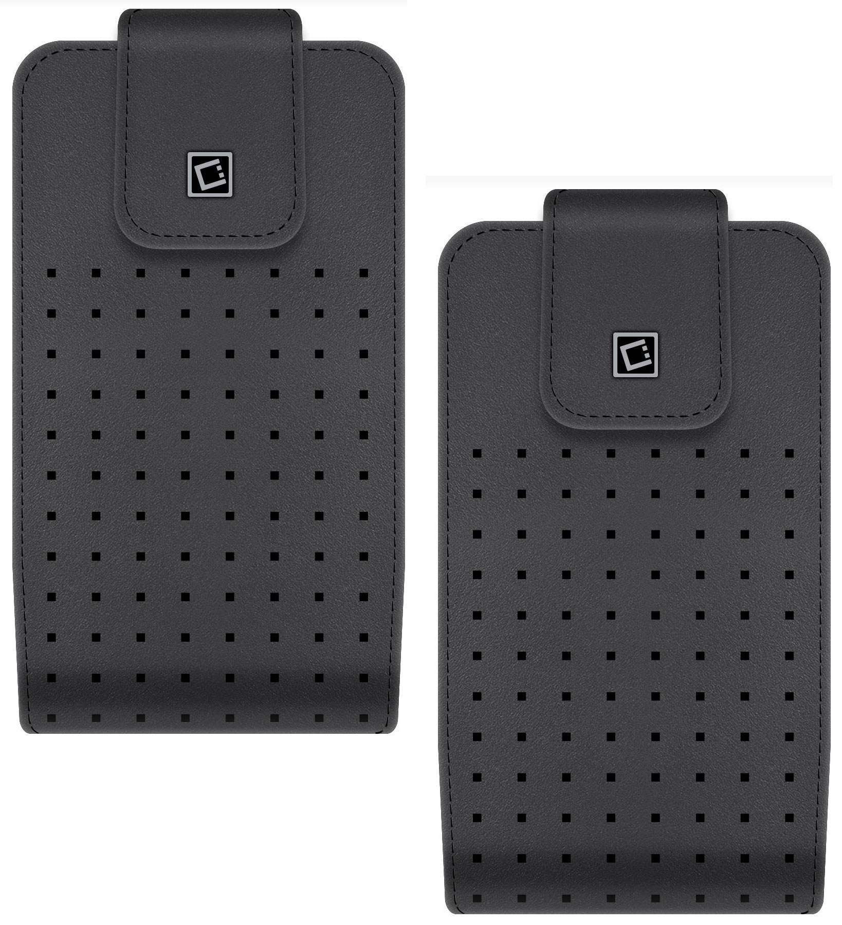 Vertical Leather Case Swivel Clip For ZTE Blade Spark Cellet Teramo Black Pack Of 2