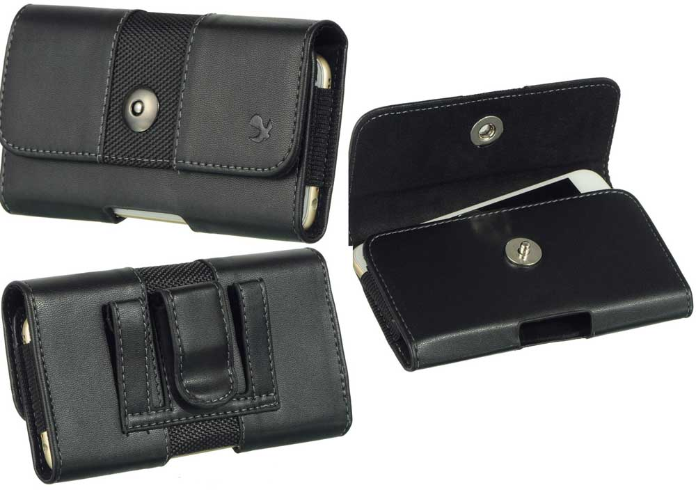 Leather Fabric Case Button Closure Black