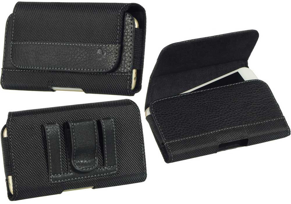 Leather Fabric Case Hidden Closure Black
