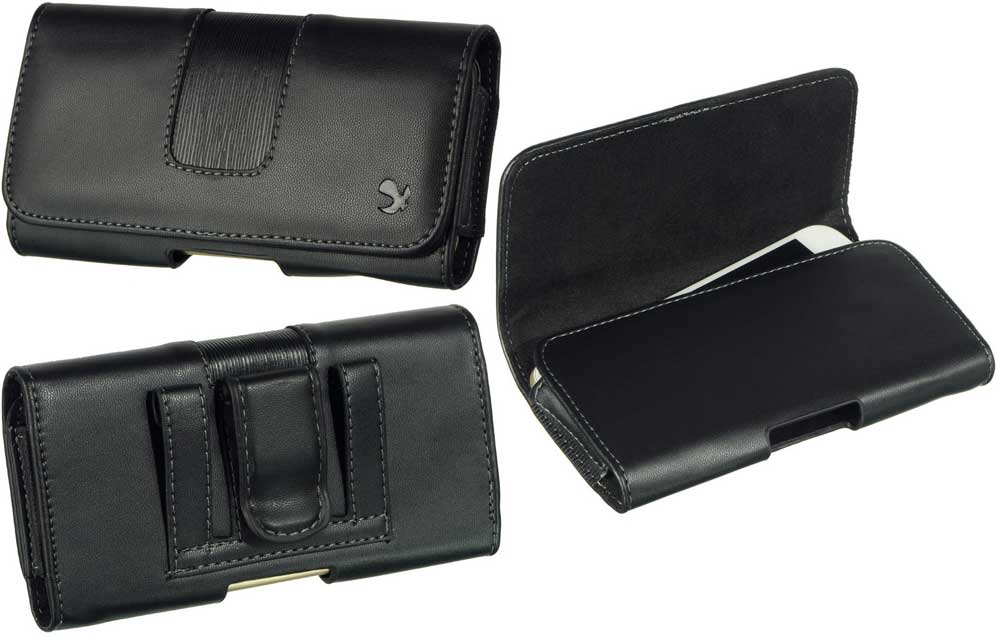 Leather Case Pouch Hidden Closure Black