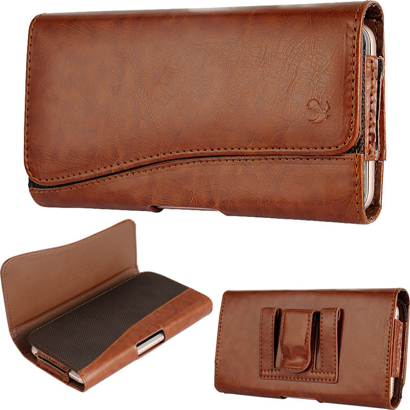 Nokia E7-00 Leatherette Case Pouch Hidden Closure Brown