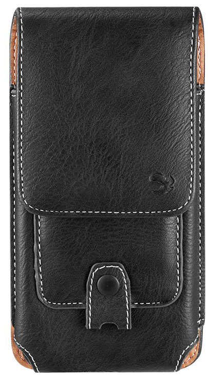 Samsung Galaxy A51 LTE Leather Pouch Wallet Carabiner Black