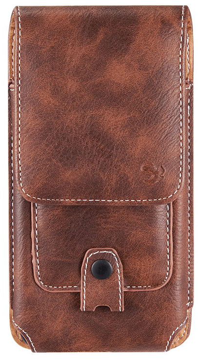 Red Hydrogen One Leather Pouch Wallet Carabiner Brown