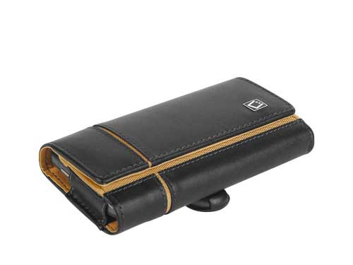 Moto Theory Verona High Grade Leather Case 2 Clips Black