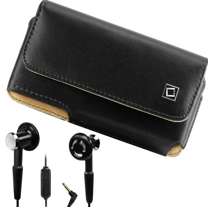 Samsung Infuse 4G Leather Case Pouch Clip And HandsFree Earbuds Black