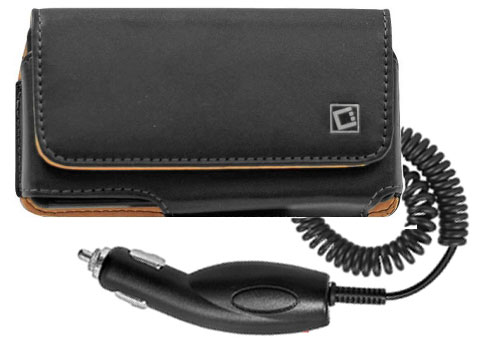 Moto Atrix HD Leather Case Clip Car Charger Black
