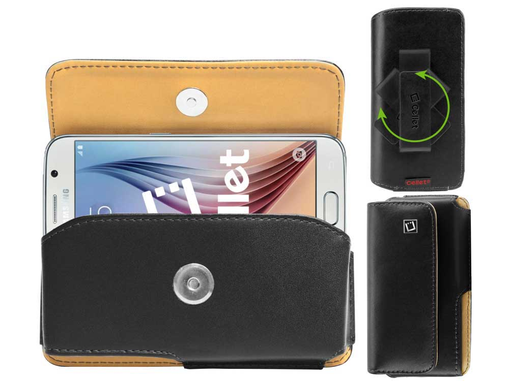 ZTE Blade Spark Noble Leather Case Swivel Clip Black