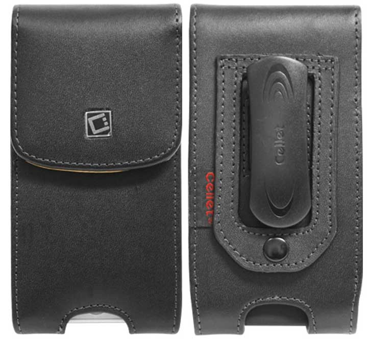 Leather Case Vertical 2 Spring Clips Black