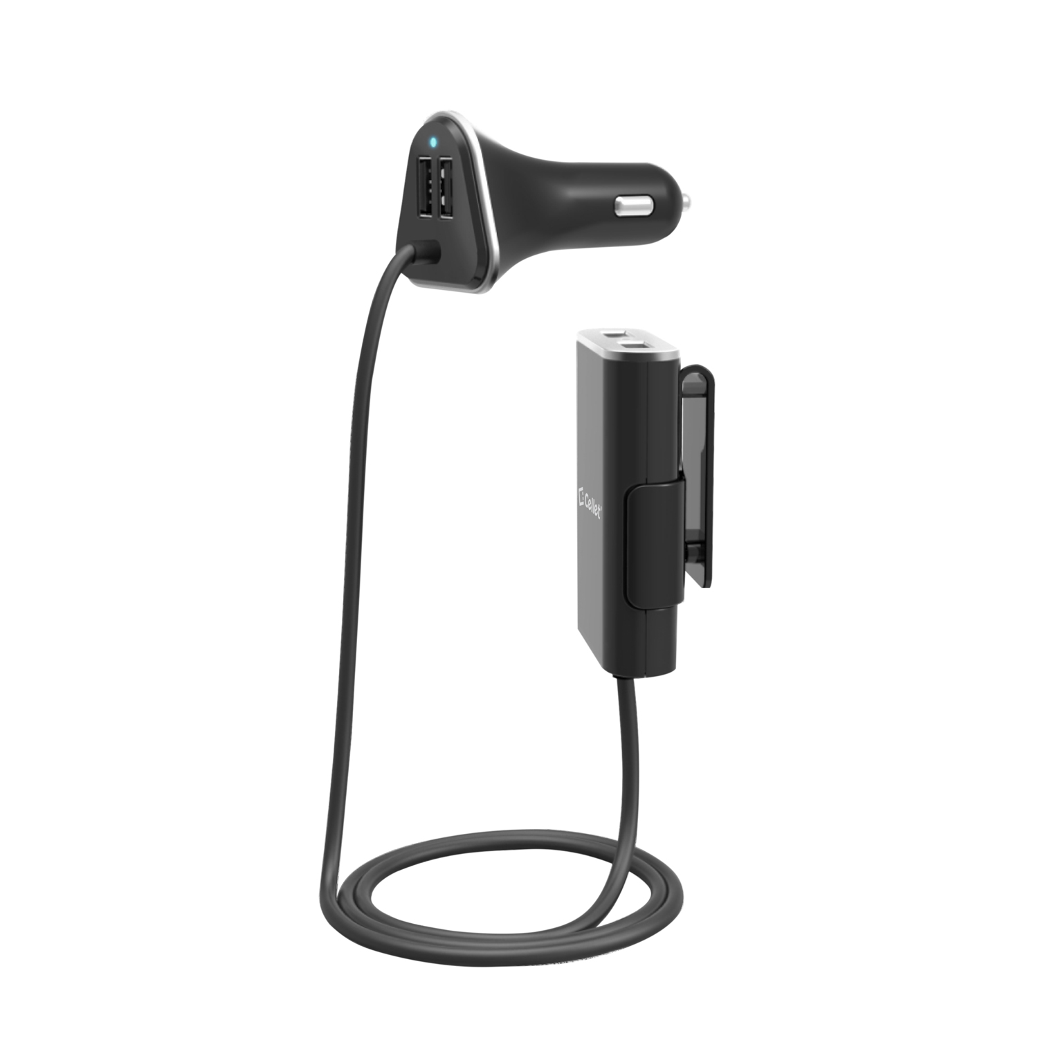 ZTE Aspect 4 Port USB Car Charger Front Back Seat Black