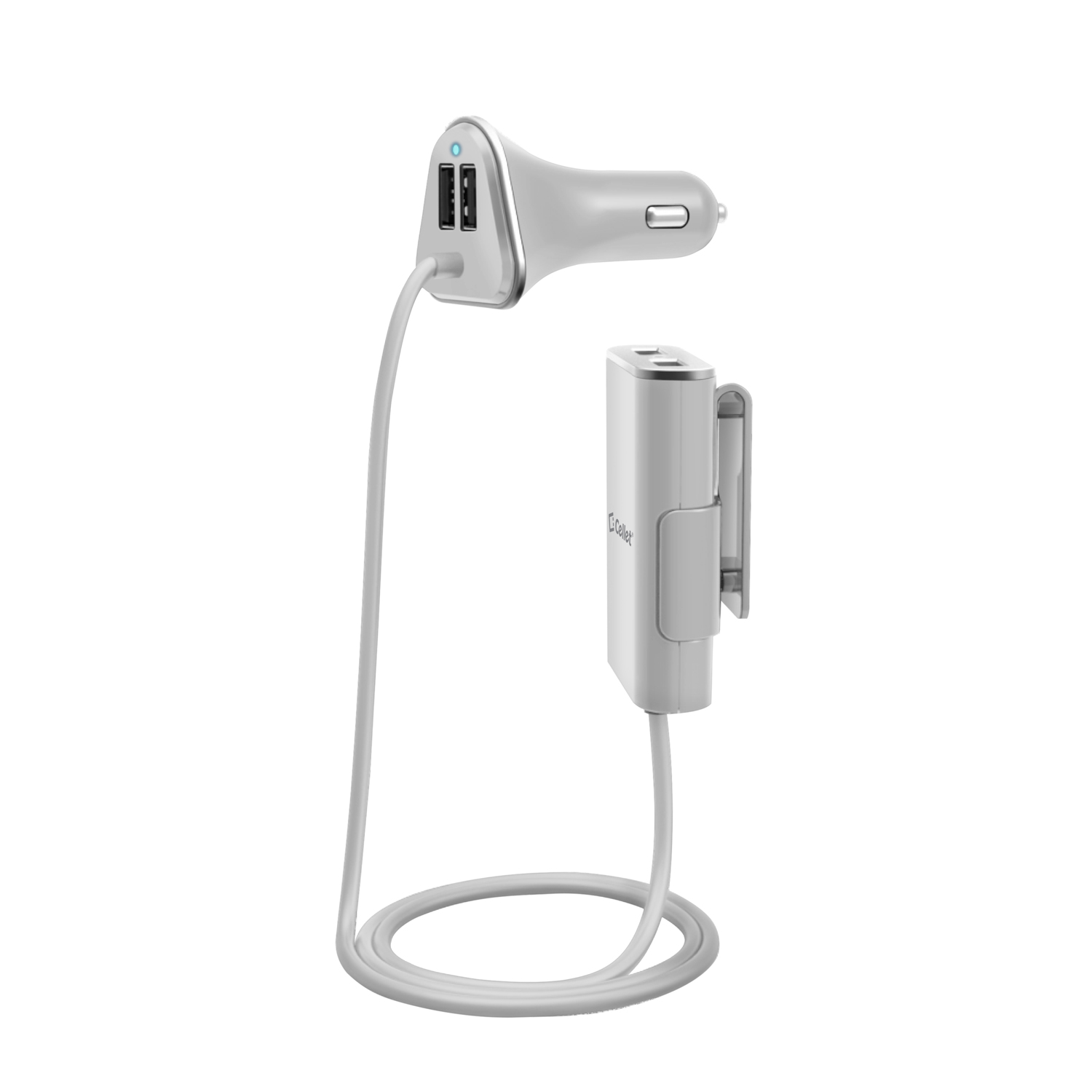 Sony Xperia Z 4 Port USB Car Charger Front Back Seat White