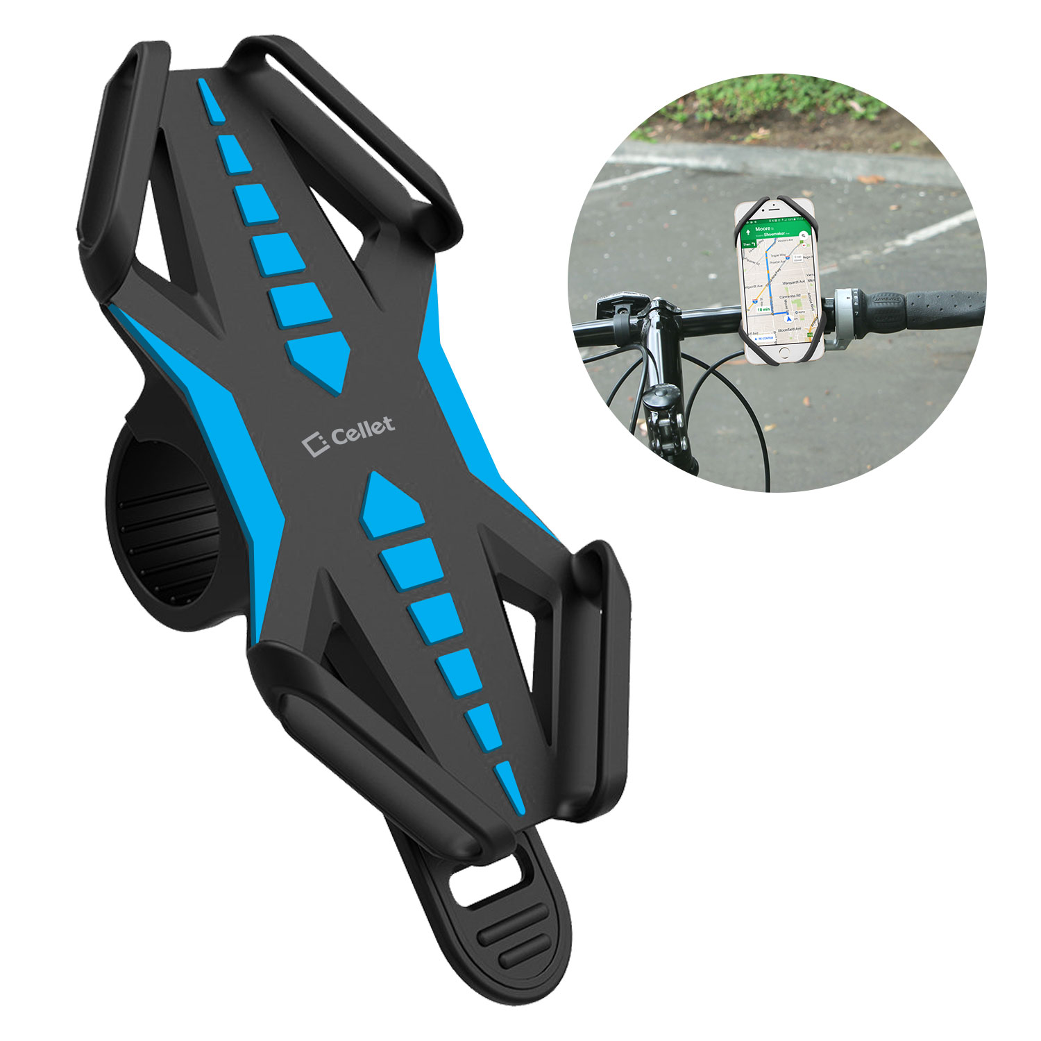 Samsung Galaxy A20 Bike Phone Mount Silicone Blue