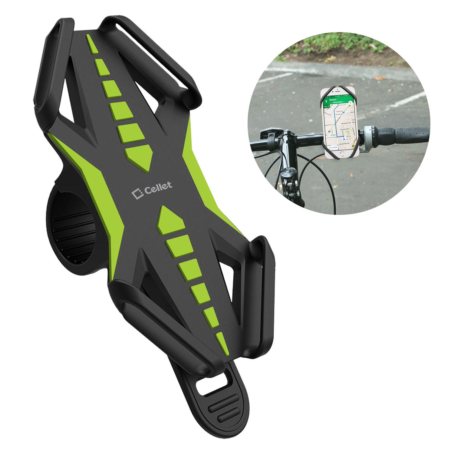 Samsung Galaxy A50 Bike Phone Mount Silicone Green