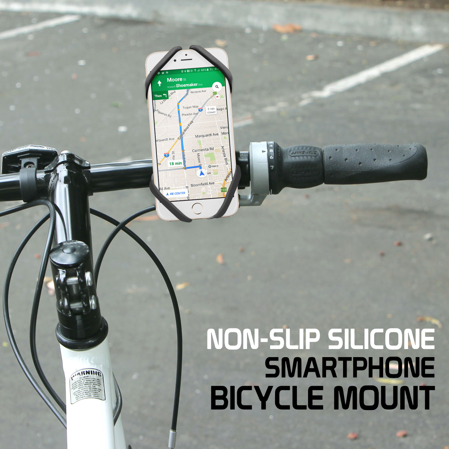 ZTE Avid 4 Bike Phone Mount Silicone Grey