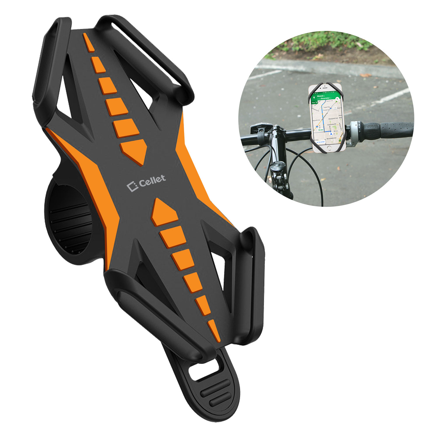 Samsung Galaxy A50 Bike Phone Mount Silicone Orange