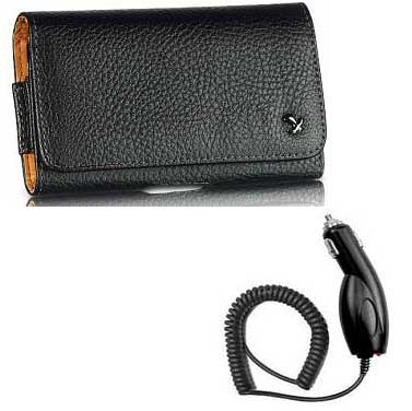 Genuine Napa Leather Case Pouch Black And Car Charger For LG Chocolate Touch (VX8575)