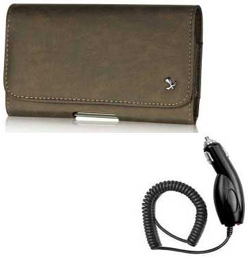 Genuine Bold Leather Case Pouch Brown And Car Charger For ZTE Majesty
