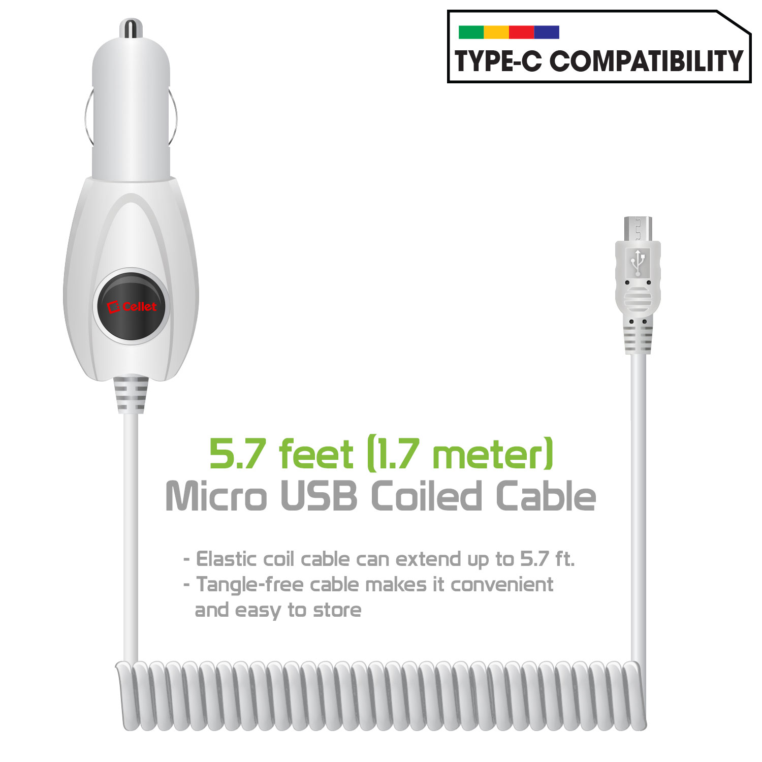 Premium Car Charger White Pack Of 2