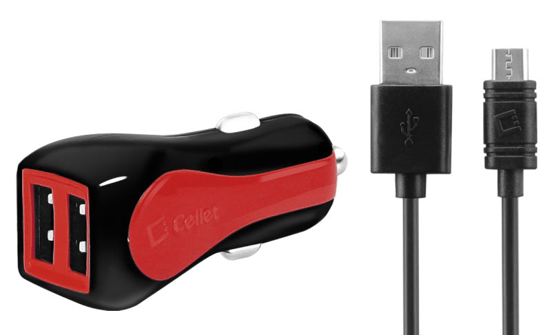 Samsung Galaxy S10e Dual USB Type-C And Micro-USB Car Charger Red