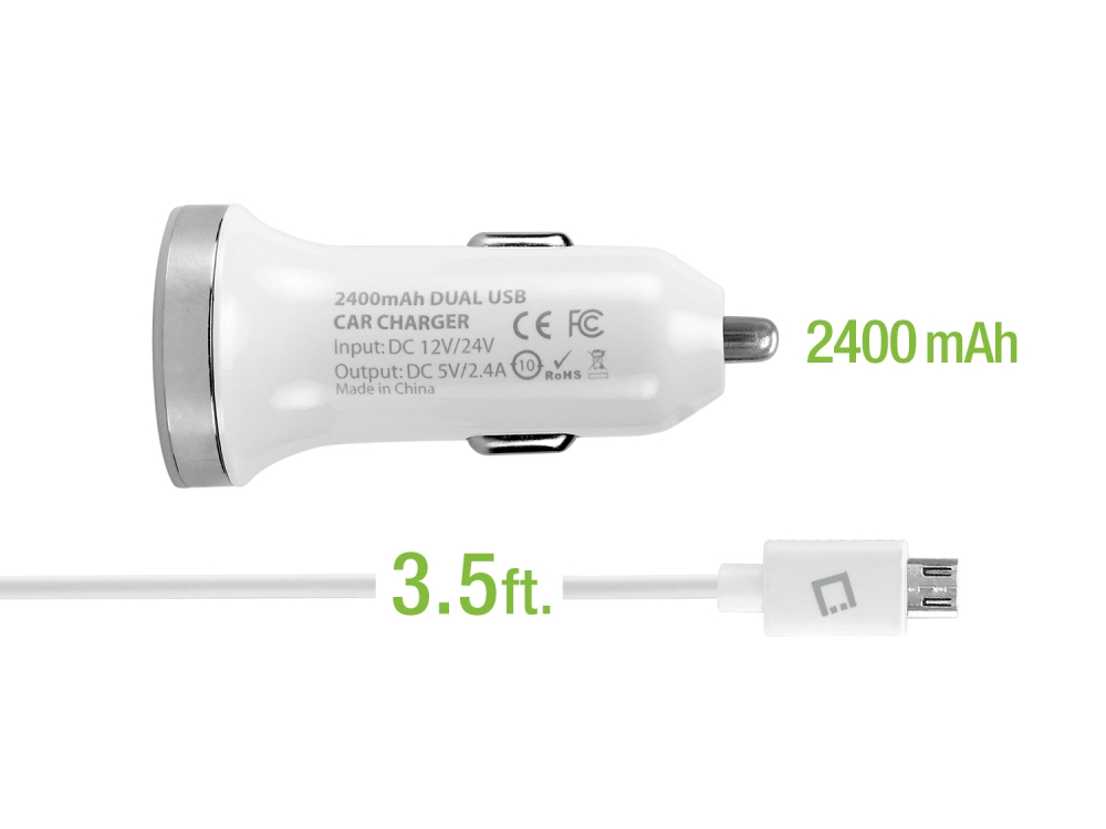 Huawei Ascend Y Dual USB 2.4a Round Car Charger White