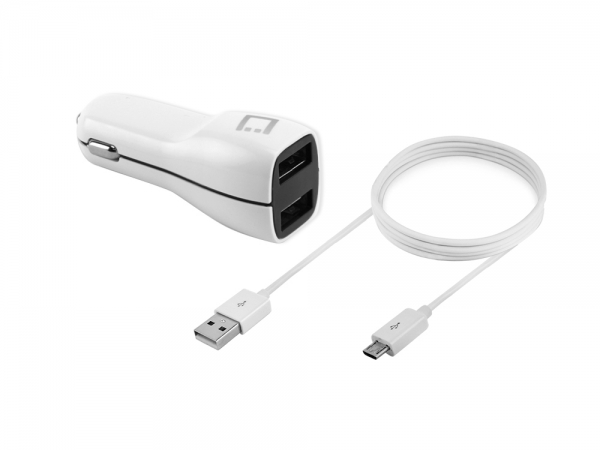 Moto Theory Dual USB Car Charger White