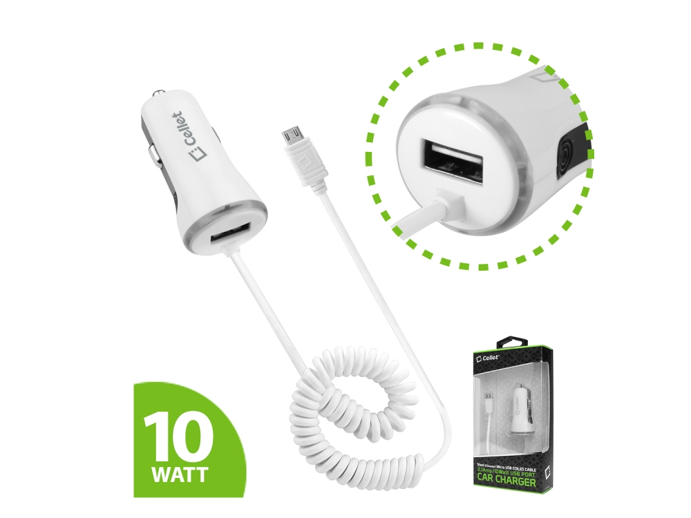 Car Charger Extra USB 2.1amp White