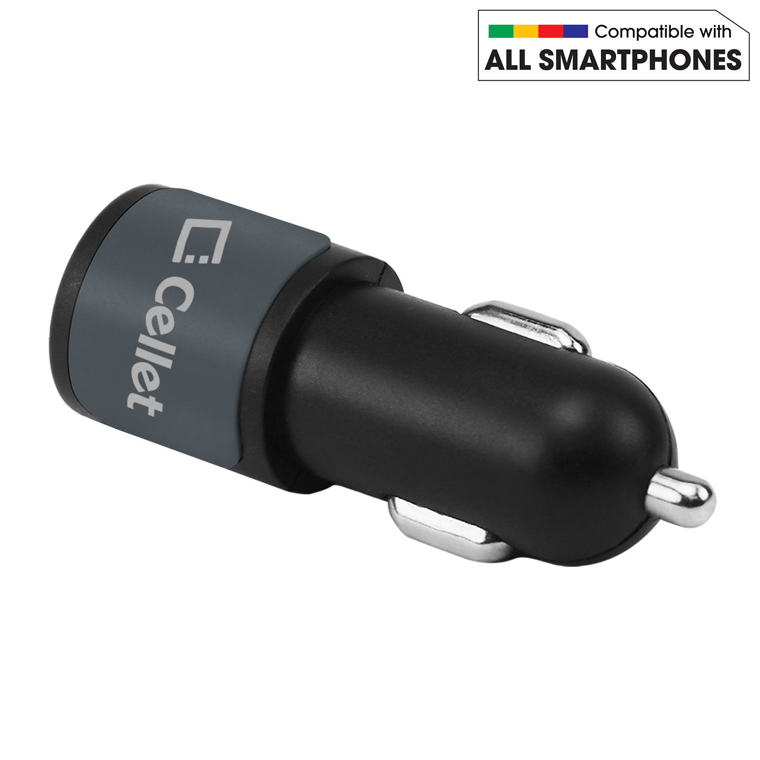 Cricket Icon Micro-USB Car Charger Black 6ft Grey Braided Cable