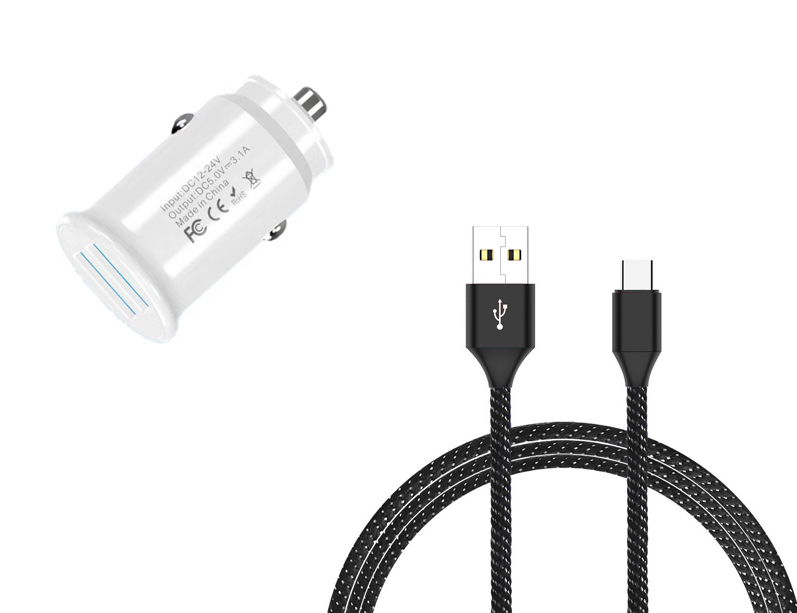 Amazon Fire HD 10 8th Gen USB TypeC Car Charger White 6ft Black Braided Cable