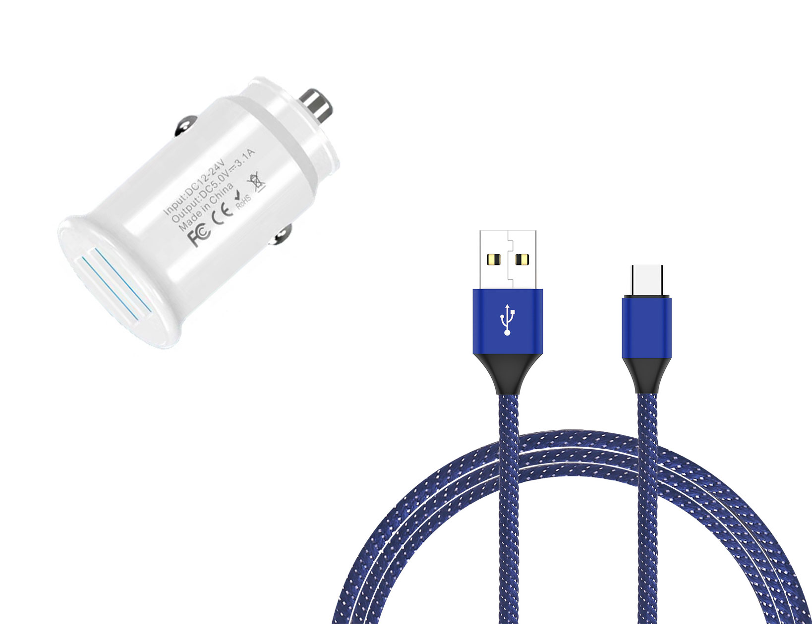 Amazon Fire HD 10 8th Gen USB TypeC Car Charger White 6ft Blue Braided Cable