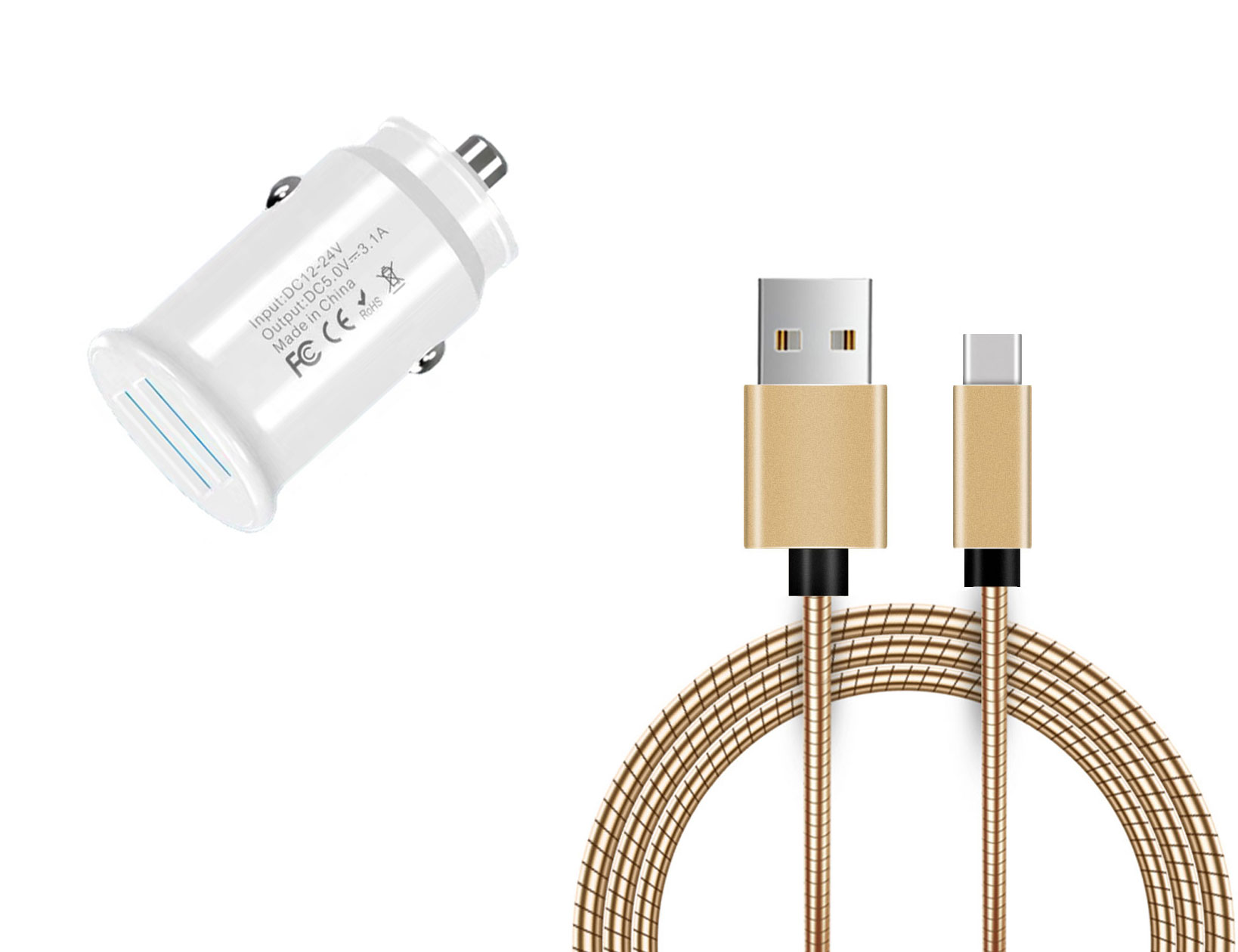 Amazon Fire HD 10 8th Gen USB TypeC Car Charger White 6ft Gold Braided Cable
