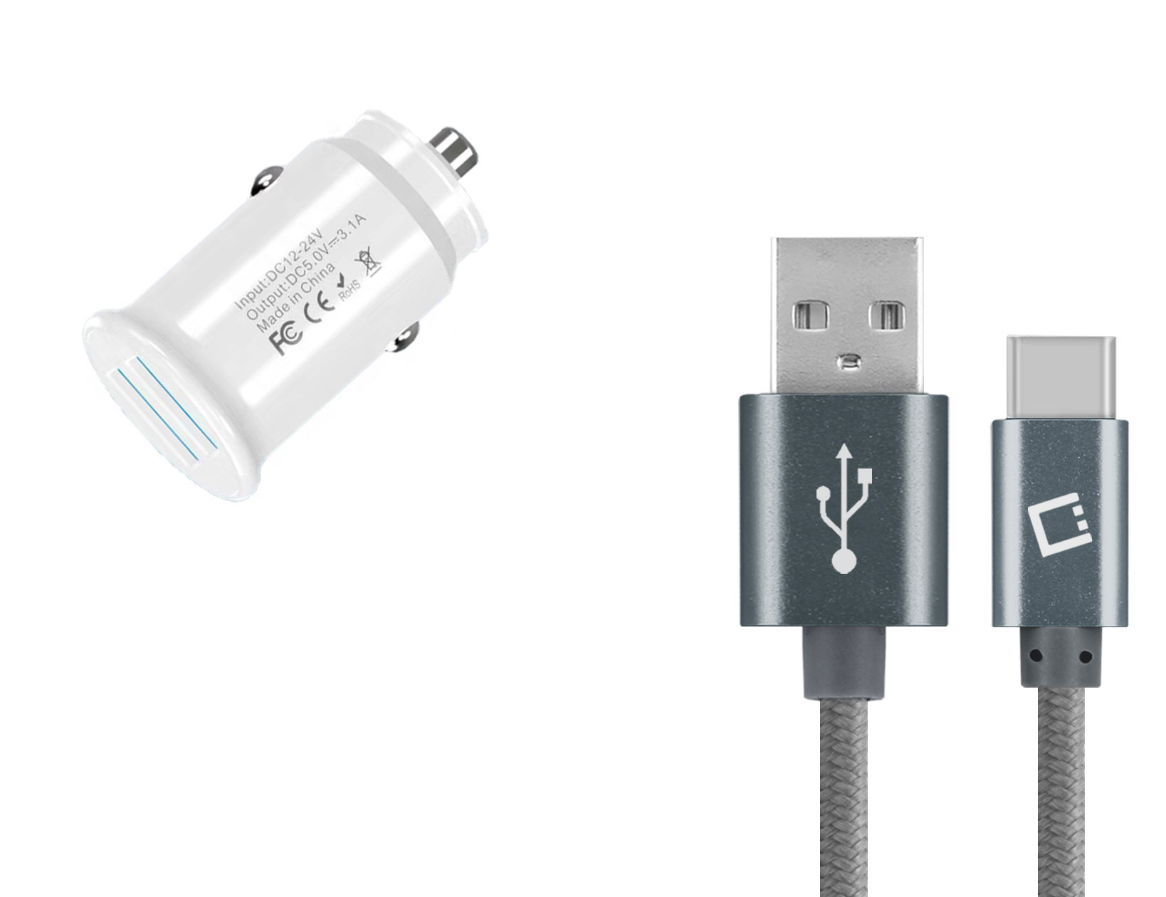 Amazon Fire HD 10 8th Gen USB TypeC Car Charger White 6ft Grey Braided Cable