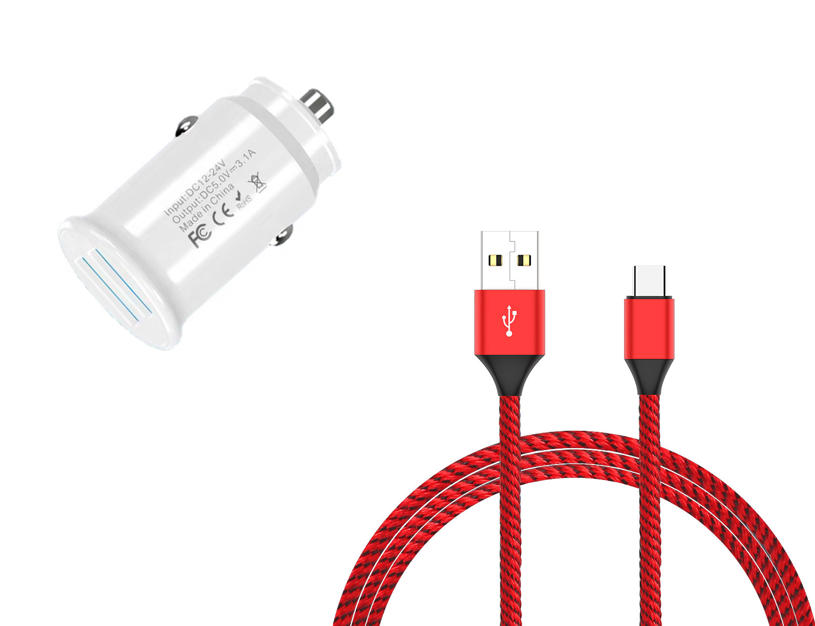 Google Pixel 3 USB TypeC Car Charger White 6ft Red Braided Cable