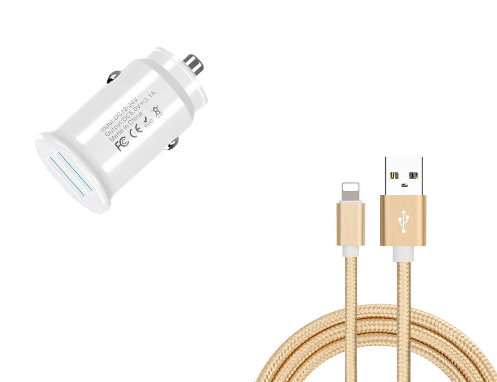 Apple iPad Air 3rd Gen Lightning Car Charger White 4ft Gold Braided Cable