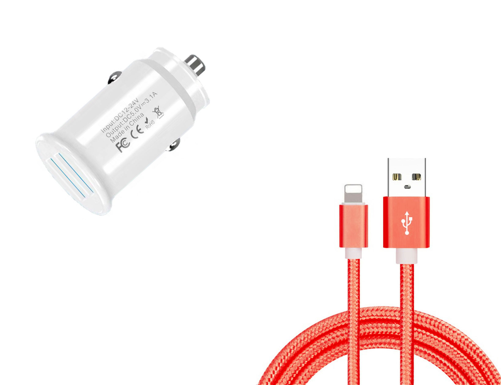 Apple iPhone SE 2020 Lightning Car Charger White 4ft Red Braided Cable