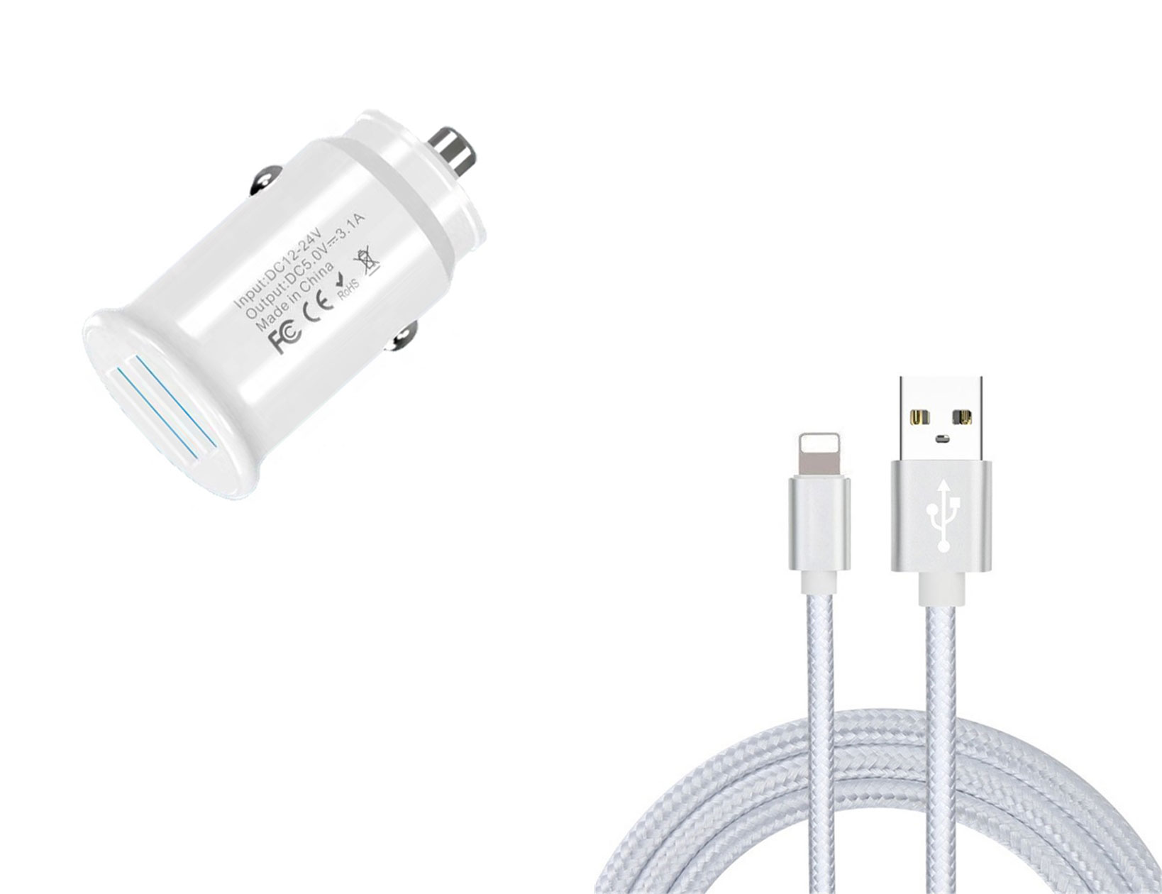 Apple iPhone 13 Pro Max Lightning Car Charger White 10ft White Braided Cable