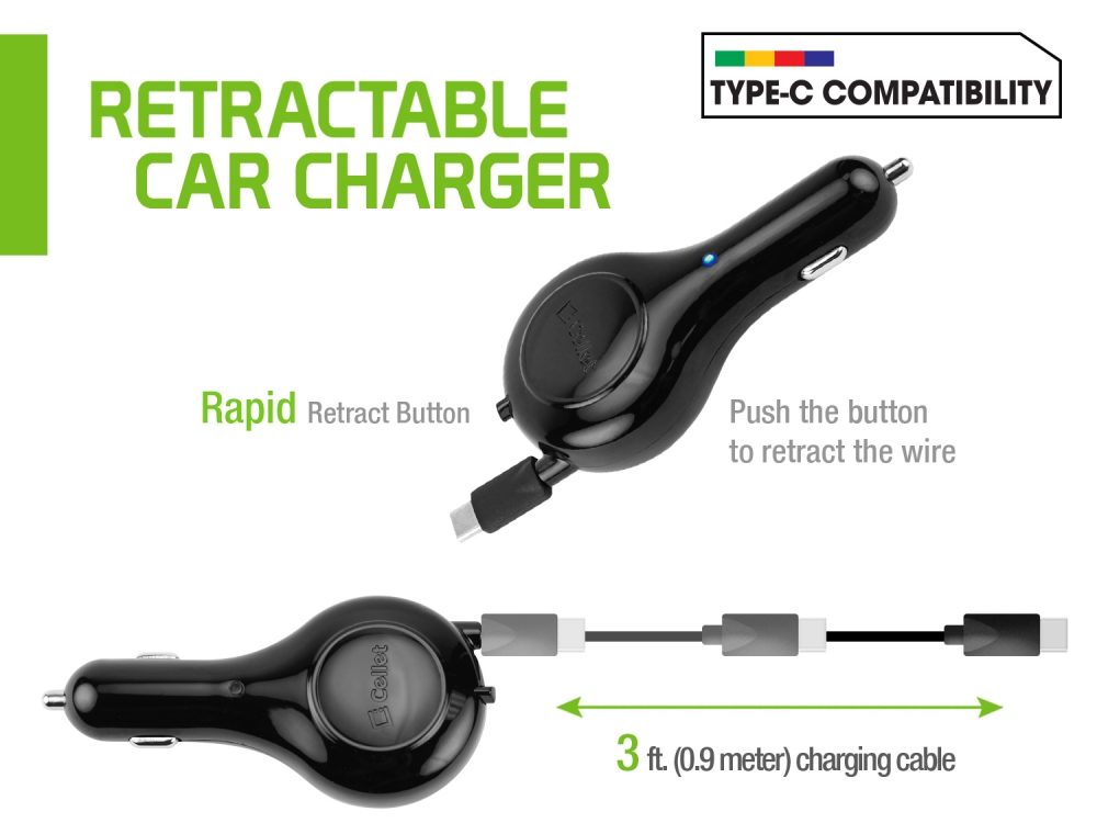 Charger USB Type-C Car Retractable Black Pack Of 2