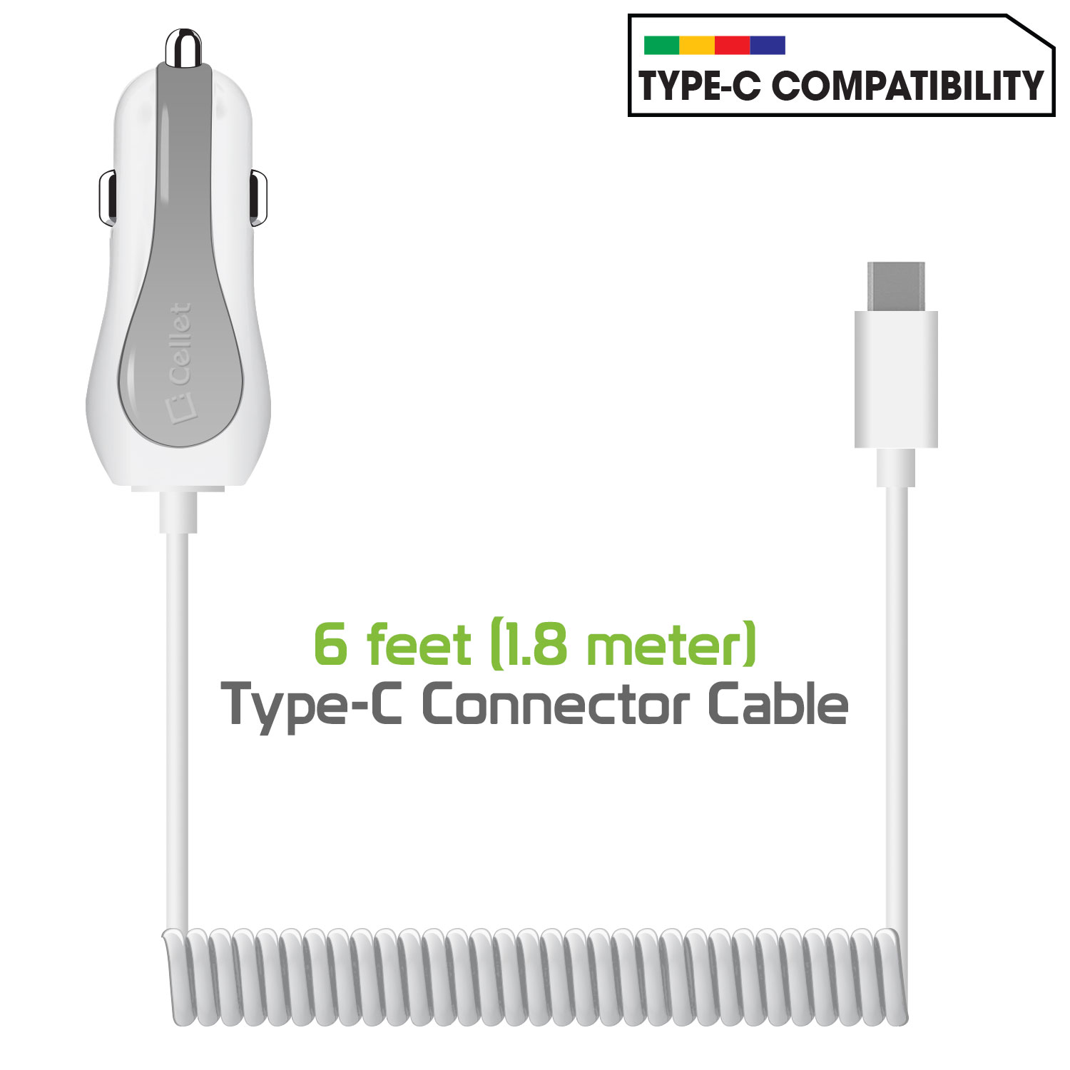 LG G7 ThinQ Charger USB Type-C Car Extra USB White Pack Of 2