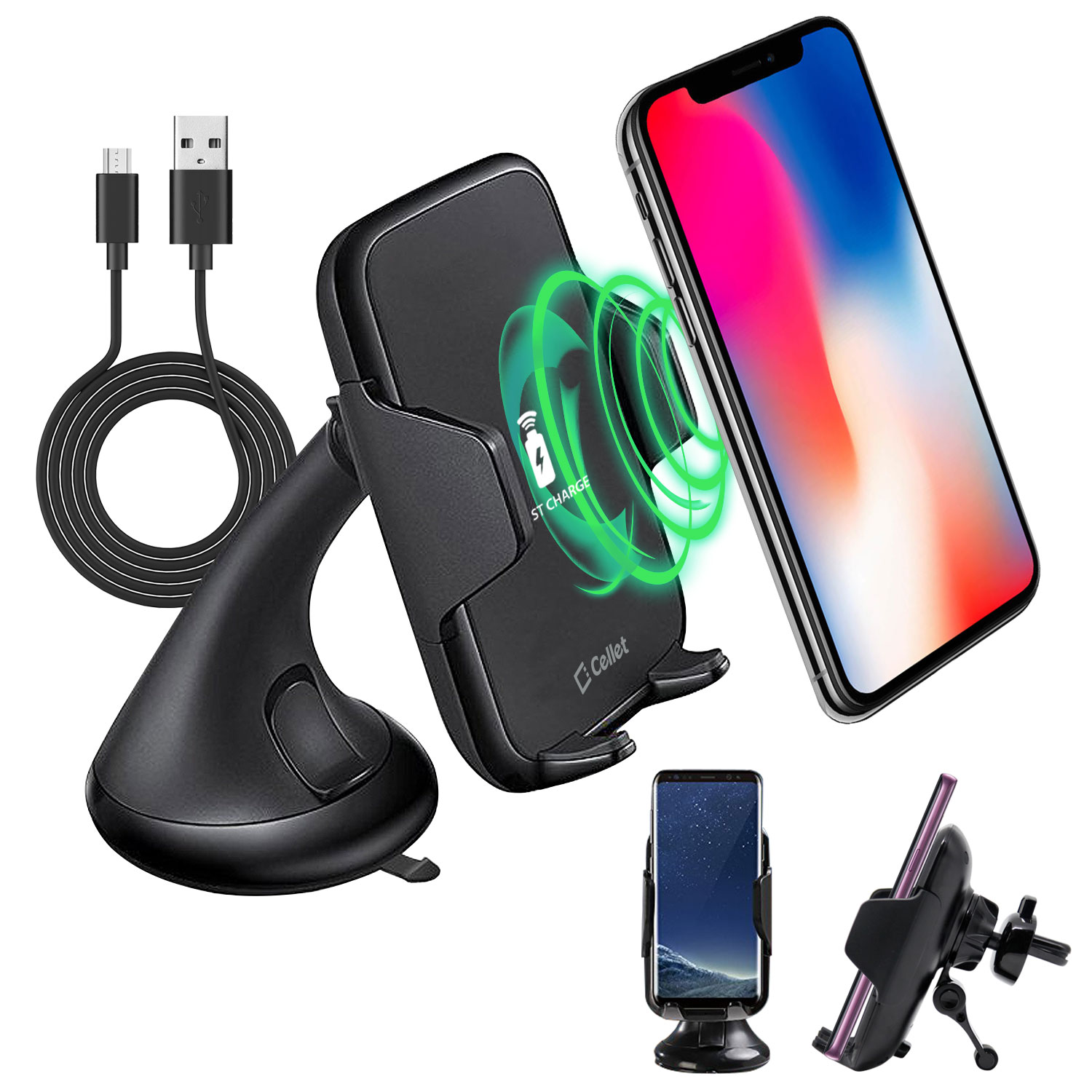 Wireless Charger Phone Mount Combo Black
