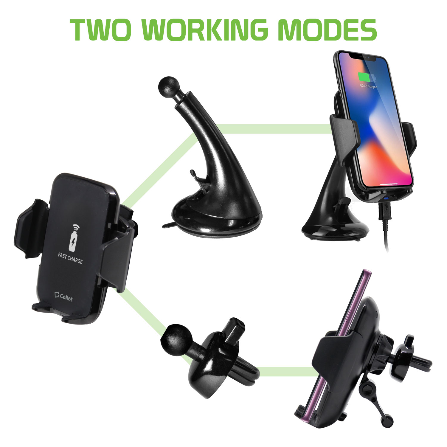 Apple IPhone 11 Wireless Charger Phone Mount Combo Black