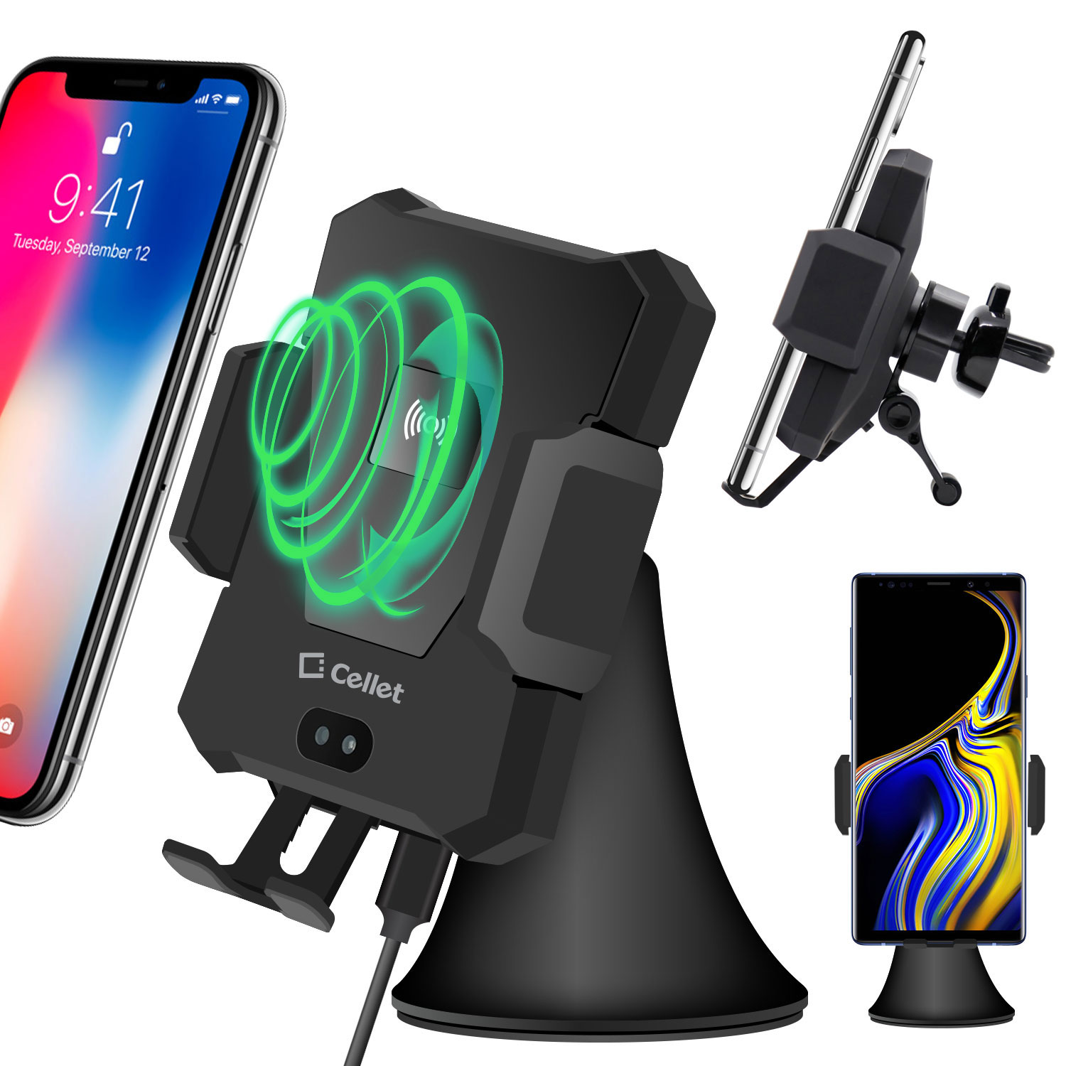 Samsung Galaxy S9 Wireless Charger Phone Mount Auto Release Black