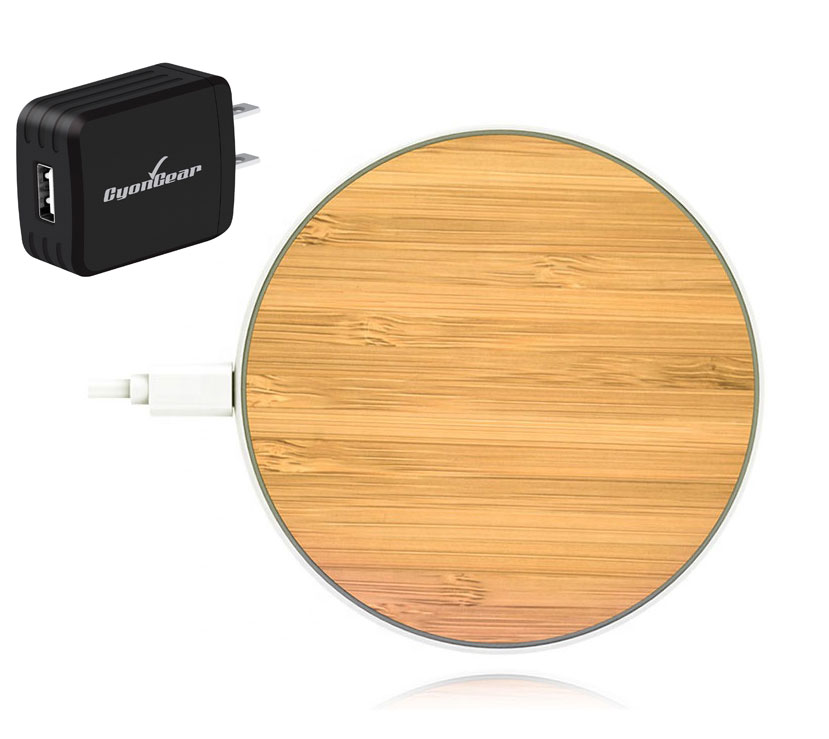 OnePlus 9 Pro Fast Wireless Charging Pad QI 10 Watts Bamboo Wood With AC Charger