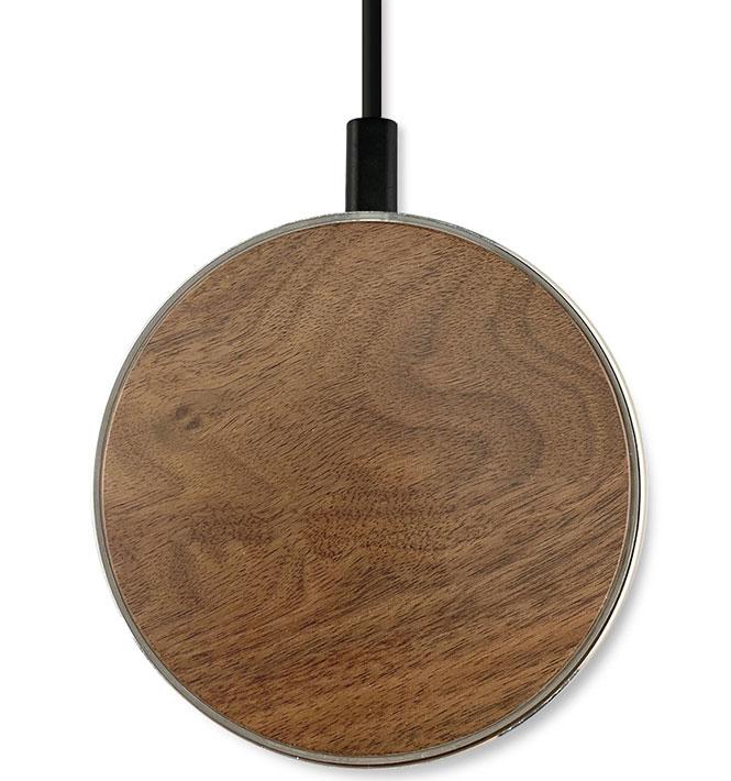 Google Pixel 3 Fast Wireless Charging Pad QI 15 Watts Aluminum Walnut Wood Top