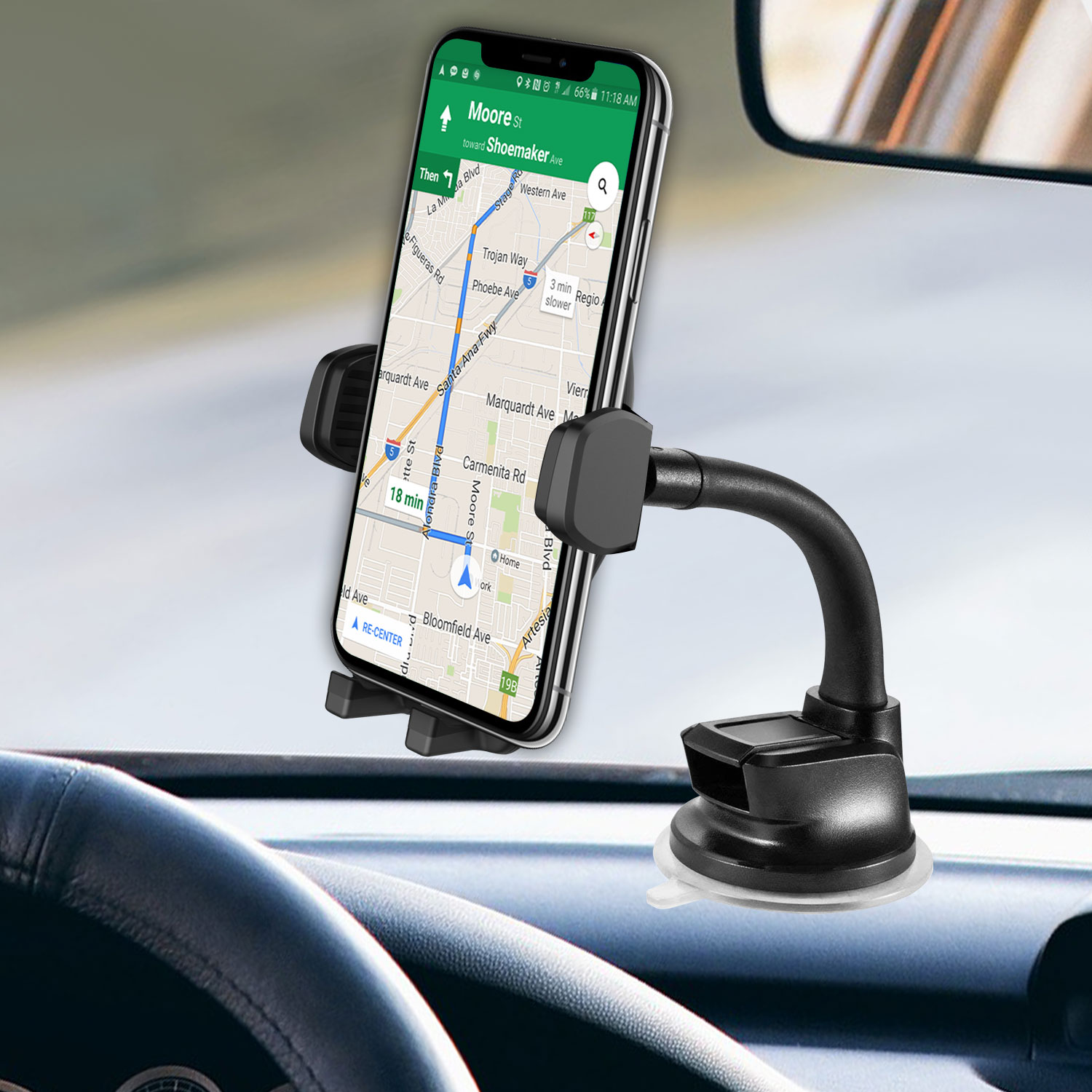 Moto Moto G7 Windshield Phone Holder Goose Neck Black