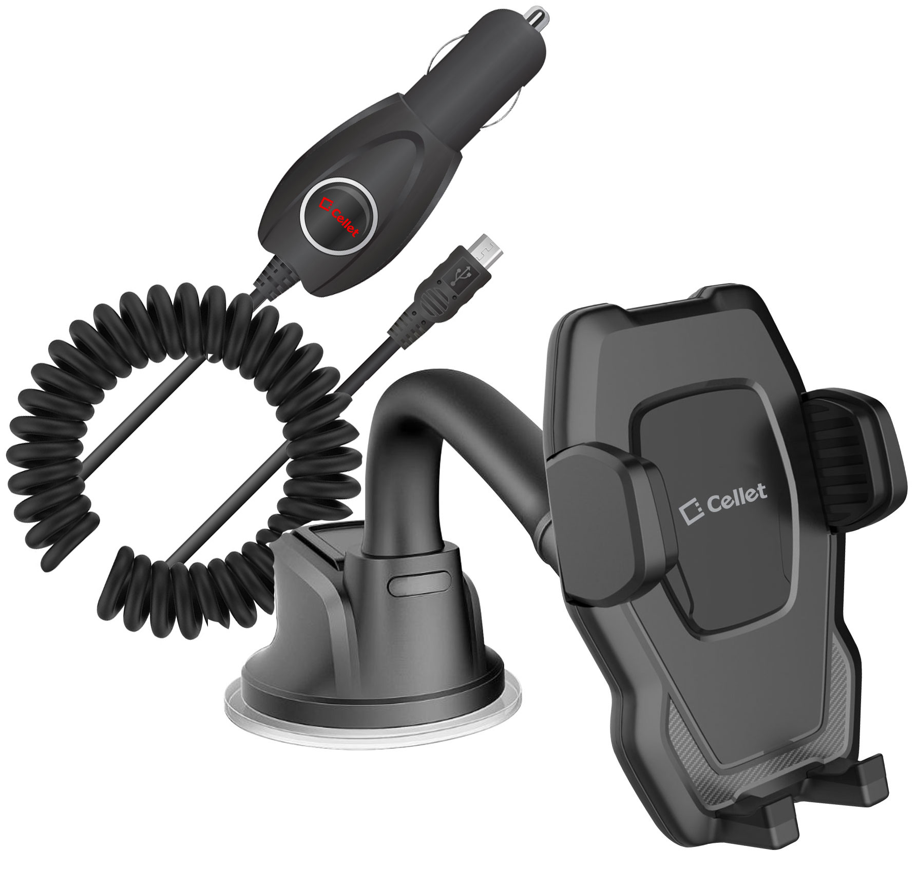 BLU Studio Selfie LTE Windshield Phone Holder Goose Neck Car Charger Black