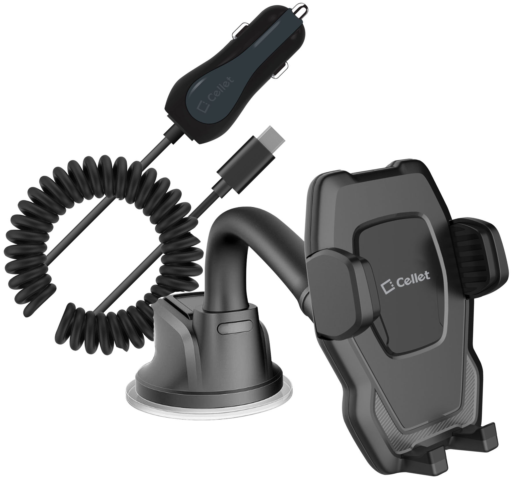 ZTE Blade V8 Pro Windshield Phone Holder Goose Neck Car Charger Black