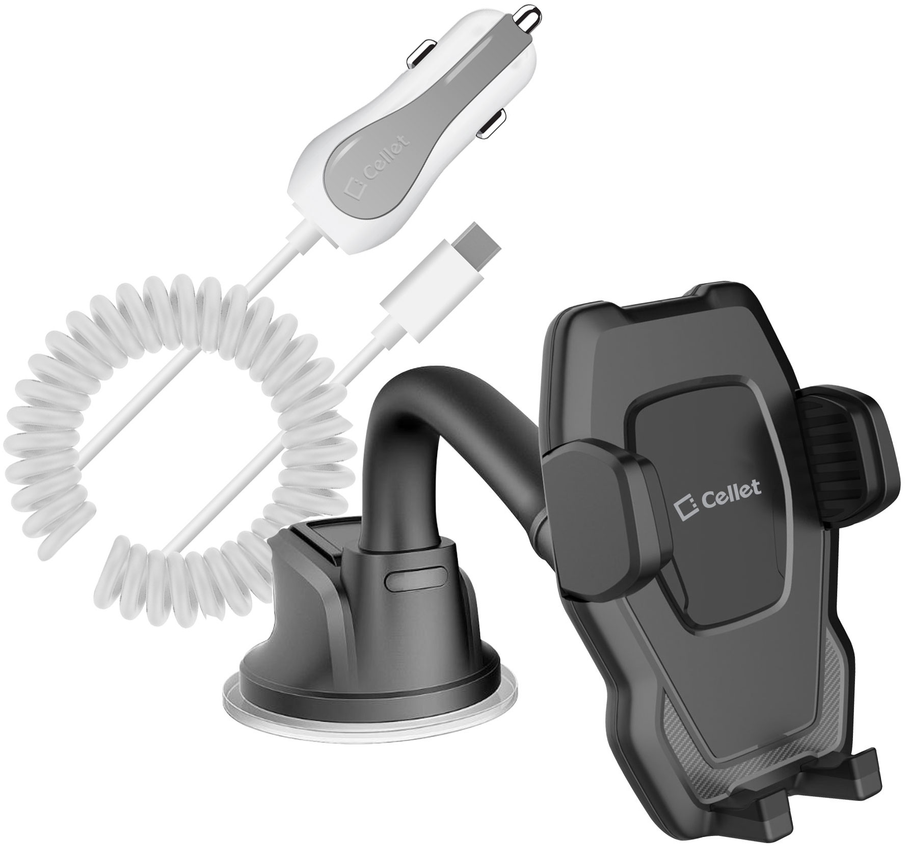 ZTE Blade Spark Windshield Phone Holder Goose Neck Car Charger White