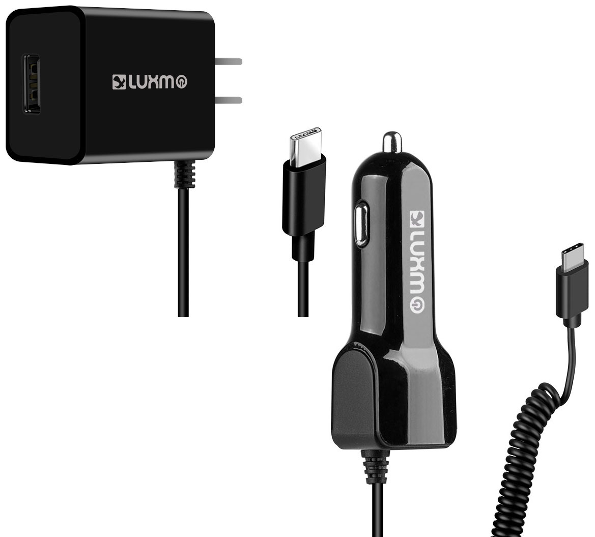 LG Stylo 4 USB Type-C Car Home Charger Pack Extra USB Black