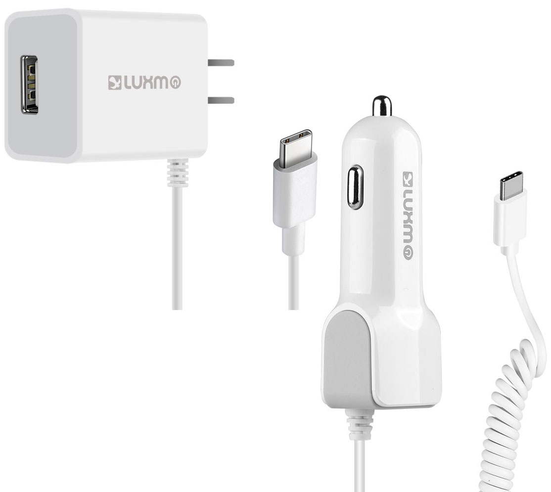 Samsung Galaxy A10e USB Type-C Car Home Charger Pack Extra USB White