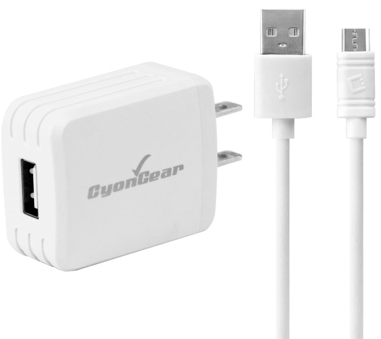 ZTE Cymbal 10 Watt Wall USB Charger Data Cable White