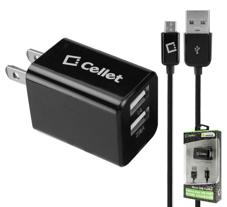 Alcatel Go Flip Dual USB 2400mAh Travel Charger Black